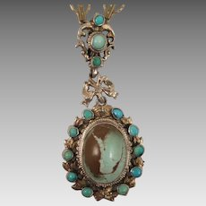 Antique Austro Hungarian Gilded Sterling Silver Turquoise Pendant Necklace
