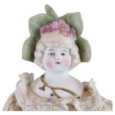 Hertwig Flower Bonnet Bisque Doll 12 inches Circa 1900