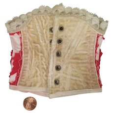 Doll Corset in Cream Velvet and Red Silk