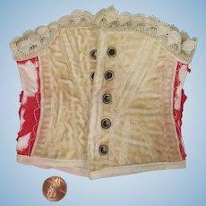 Doll Corset in Cream Velvet and Red Silk