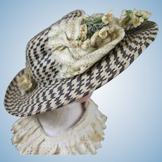 Antique Doll Hat in Black and Cream for 8-9 inch Head