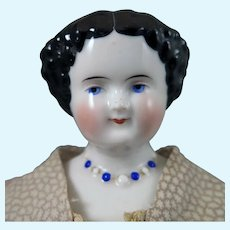 1860s China Doll with Molded Necklace 15 inches
