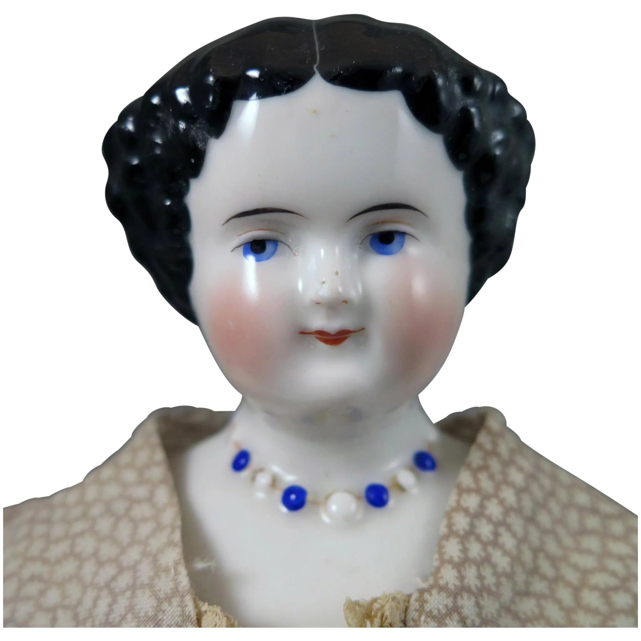 1860s China Doll With Molded Necklace 15 Inches Virtu Doll Ruby Lane