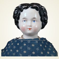Antique German Flat top China Doll 14 inches