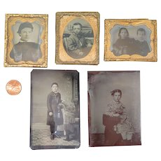 5 Victorian Tintype Photographs of Children