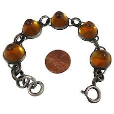 Vintage Sterling Silver Domed Amber Glass Bracelet