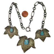 Antique Chinese Export Sterling Silver Turquoise Necklace