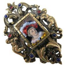Antique French Enamel Brooch