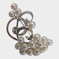 Japanese 950 Silver Cultured Pearl Brooch 1950s
