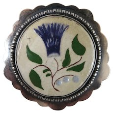 Sterling Silver Pottery Thistle Brooch Arts and Crafts c. 1900