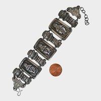 Vintage Peru Pewter Bracelet with Aztec Gods