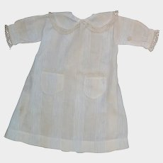 Antique Striped Cotton Dress for Bisque Doll
