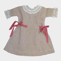Antique Cotton Check Dress for Bisque Doll