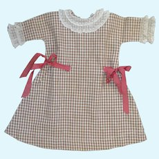 Antique Cotton Check Dress for Bisque Doll