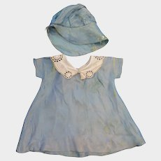 1930s Blue Doll Dress and Bonnet 11 inches