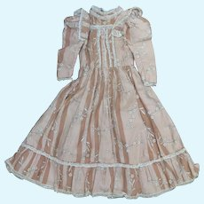 Antique Cotton Print Doll Dress 15.5 inches