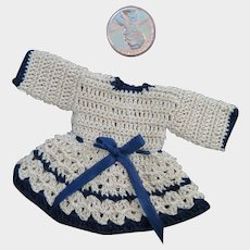 Vintage Crocheted Tiny Doll Dress 2.25 inches