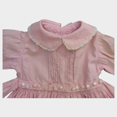 1950s Vintage Pink Cotton Doll Dress and Slip