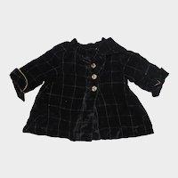 Early 1900s Black Velvet Doll Coat Jacket