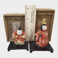 Japanese Kimekomi Dolls x2 in Boxes Taisho Era
