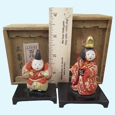 Japanese Kimekomi Dolls x2 in Boxes Taisho Era
