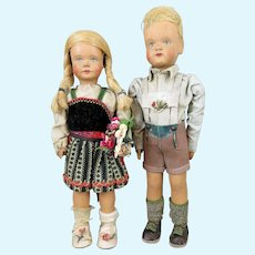 German Wood Sophie Schmidt Puppen Doll Pair