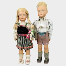 German Wood Sophie Schmidt Puppen Doll Pair