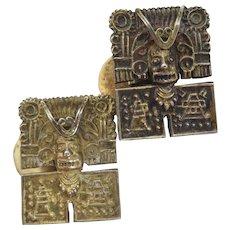 Antique Sterling Silver Vermeil Aztec Peru Cufflinks