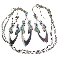 Art Nouveau Sterling Silver Enamel Necklace Earring Set