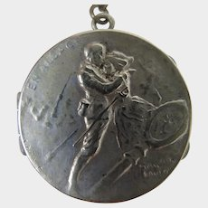 1914-1915 French Sterling Silver Locket on Necklace Chain
