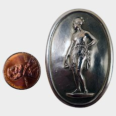 Antique Sterling Silver Cameo Brooch of Grecian Lady