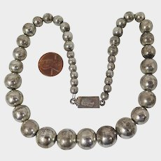 Vintage Mexican Sterling Silver Bead Necklace on Chain