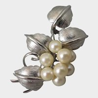 Sterling Cultured Pearl Mid Century Brooch