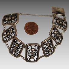 Vintage 900 Silver 7 Panel Bracelet