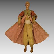 12.5 inch Antique Wax and Wood Creche Figure Man Magi Doll