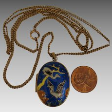 Vintage Chinese Gilded Sterling Cloisonne Crane Locket Pendant on GF Necklace Chain