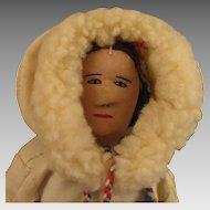12 inch Vintage Cloth Eskimo Woman Doll