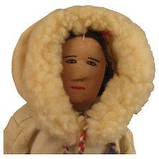 12 inch Vintage Cloth Eskimo Woman Doll - Red Tag Sale Item