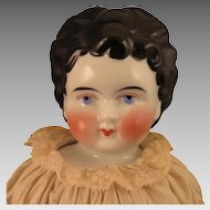 Antique German China Doll with Unusual Hair Style 17 inch