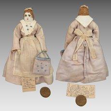 1930s Moravian Benigna Cloth Doll 5.5 inches
