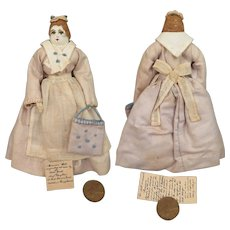 1930s Moravian Benigna Cloth Doll 5.5 inches