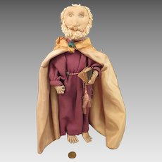 1930s-40s Cloth Monk Doll 12 inches