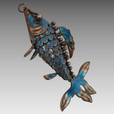 Chinese Export Sterling Silver Enamel Fish Pendant