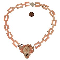 Antique Pink Shell and Mother of Pearl Necklace