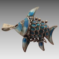 Chinese Export Sterling Silver Enameled Fish Charm Pendant