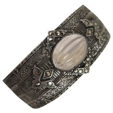 Sterling Silver Filigree Bracelet with Quartz and Marcasite