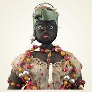 1940s Brazilian Bahia Black Cloth Doll 18 inch