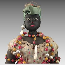 1940s Brazilian Bahia Black Cloth Doll 18 inch