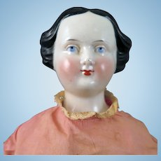 Antique Rare China Doll with Bun and Bow Hair 18 inches