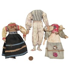 3 Antique Clothed Doll Bodies 5.5 to 6.5 inch